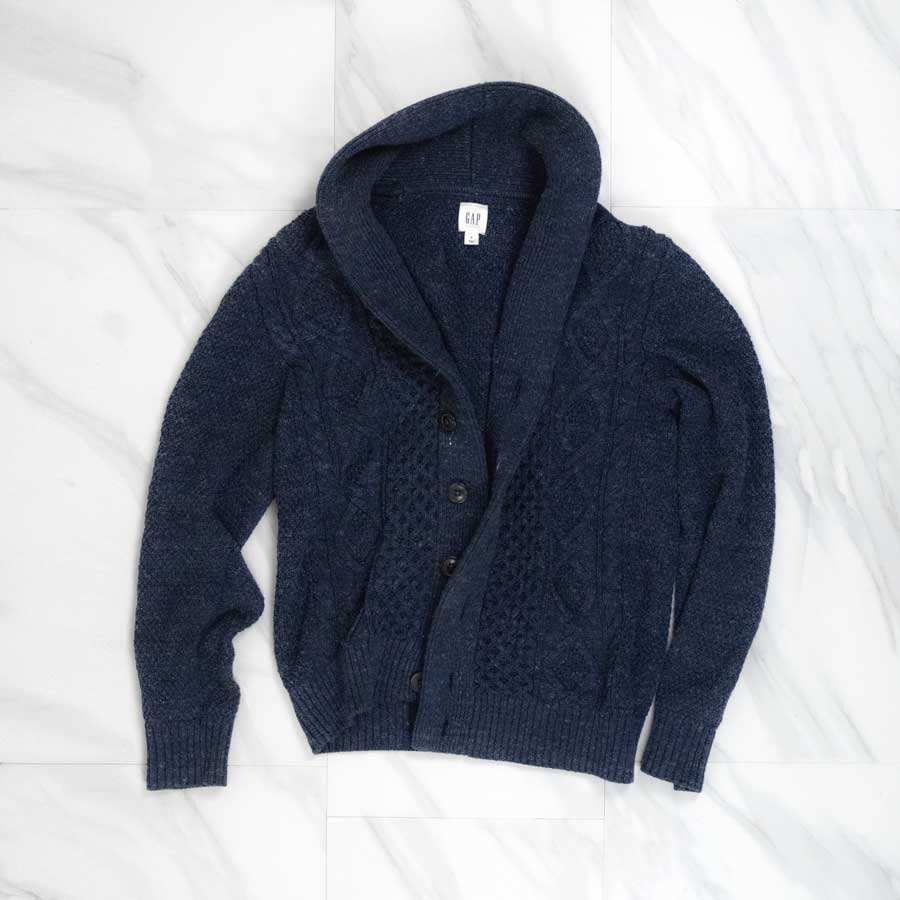 gap navy shawl collar sweater