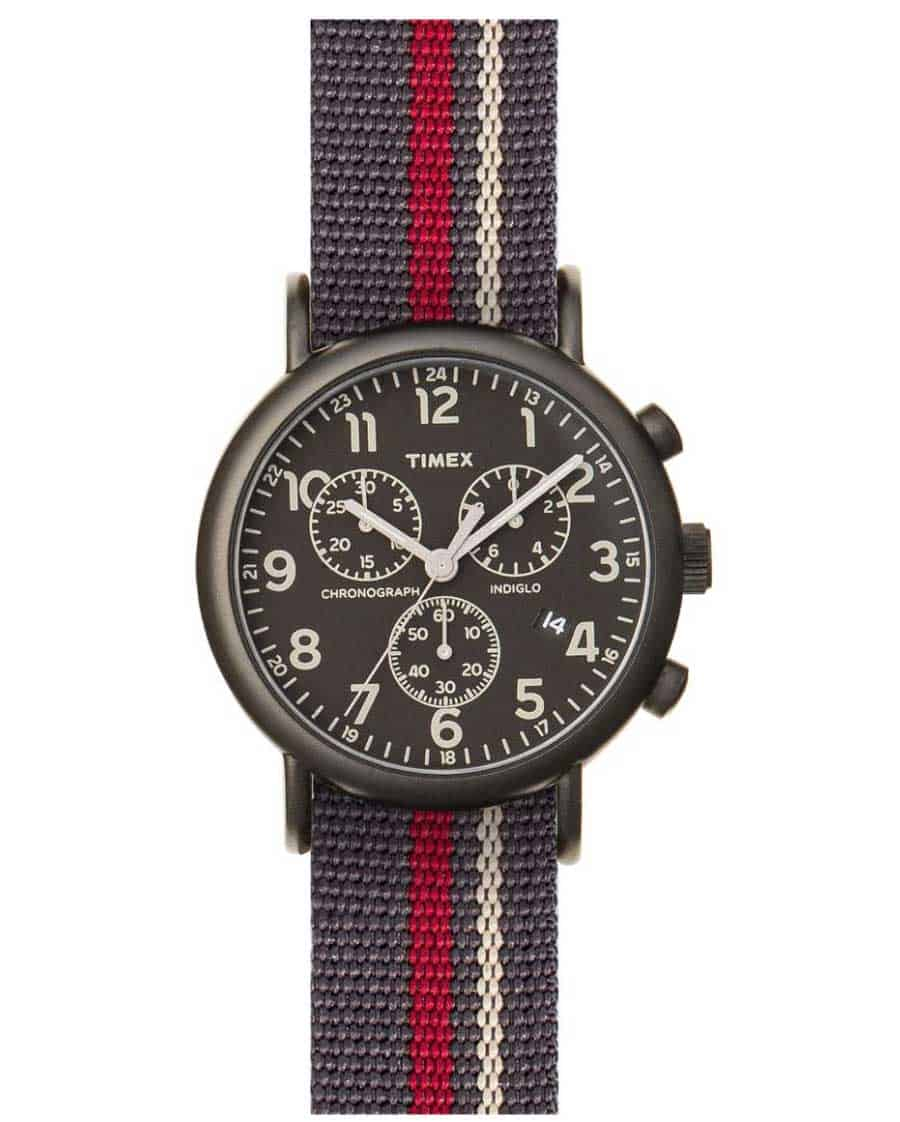 Timex watch with striped strap