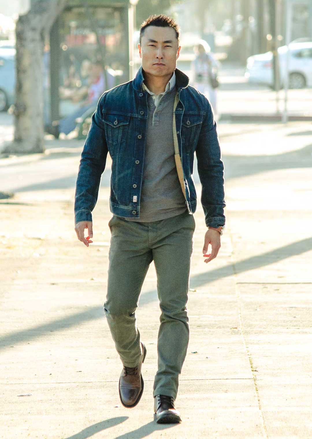 casual denim jacket outfit chinos boots henley