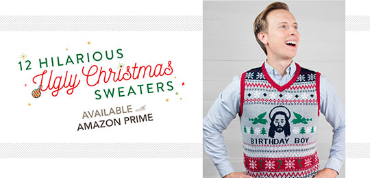 12 Hilarious Ugly Christmas Sweaters Available with Amazon Prime