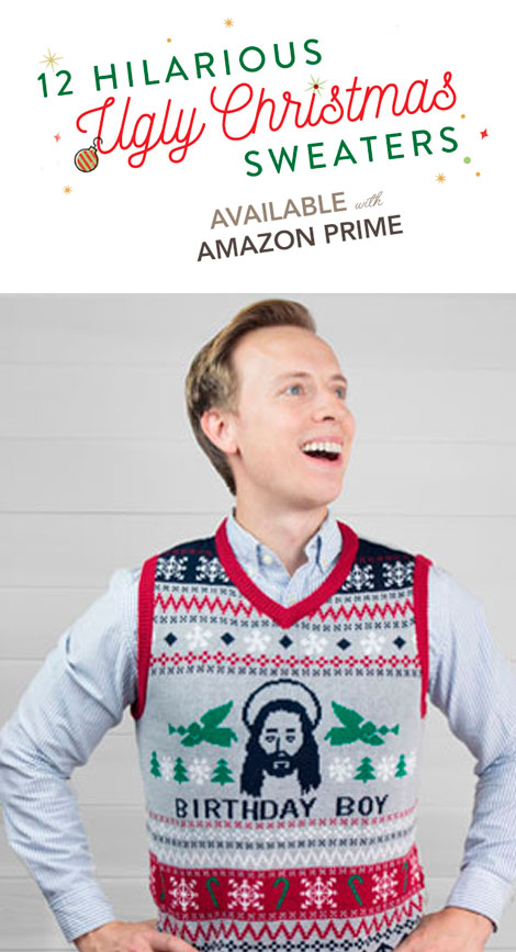 12 Hilarious Ugly Christmas Sweaters Available on Amazon Prime