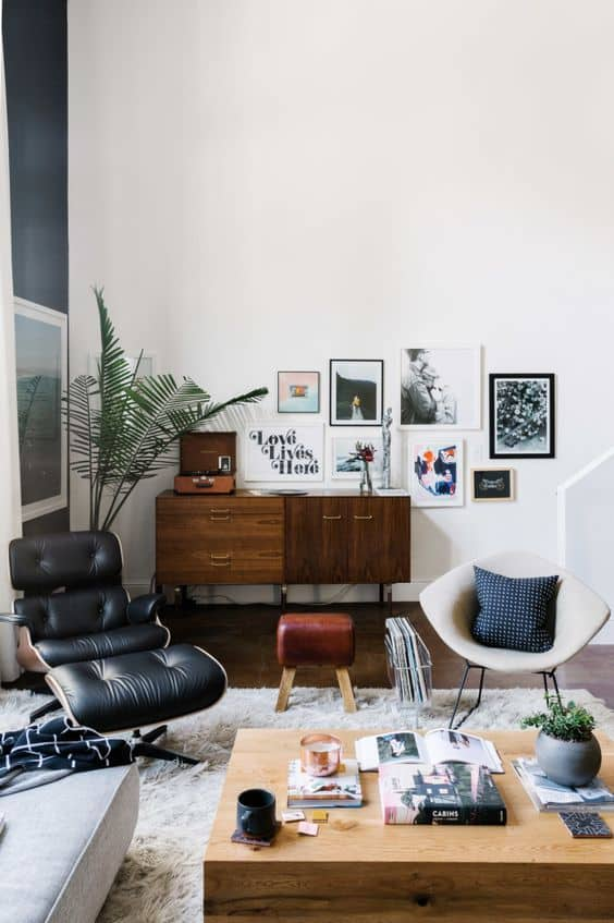 A living room filled with furniture and art