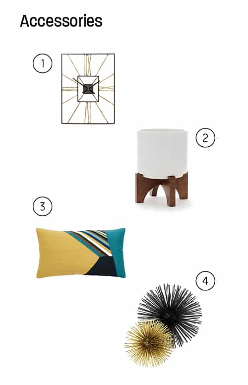 Room accessories picks with numbers next to them