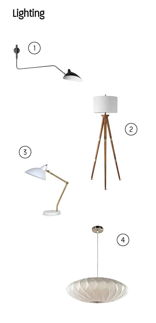 Lamp picks with numbers next to them