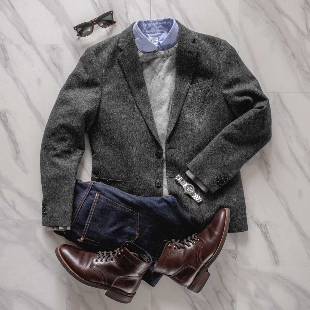 men fashion outfit ideas casual sportcoat fall winter style flatlay