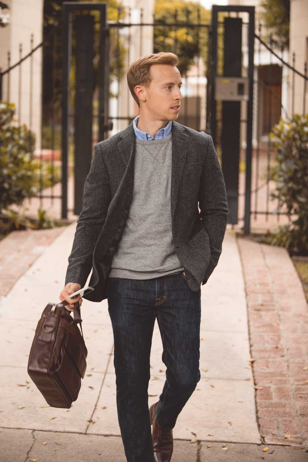 casual sportcoat with sweatshirt