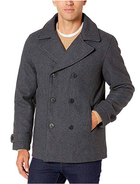 amazon essentials gray pea coat