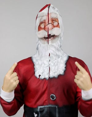 A person wearing an ugly christmas sweater with santa face