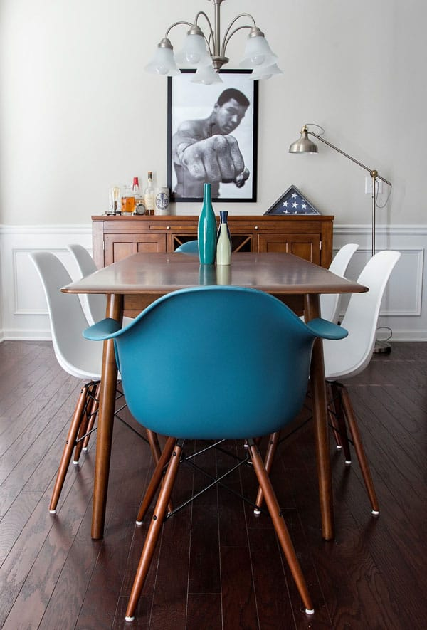 mid century ding room table eames chair eames bucket chair teal chair