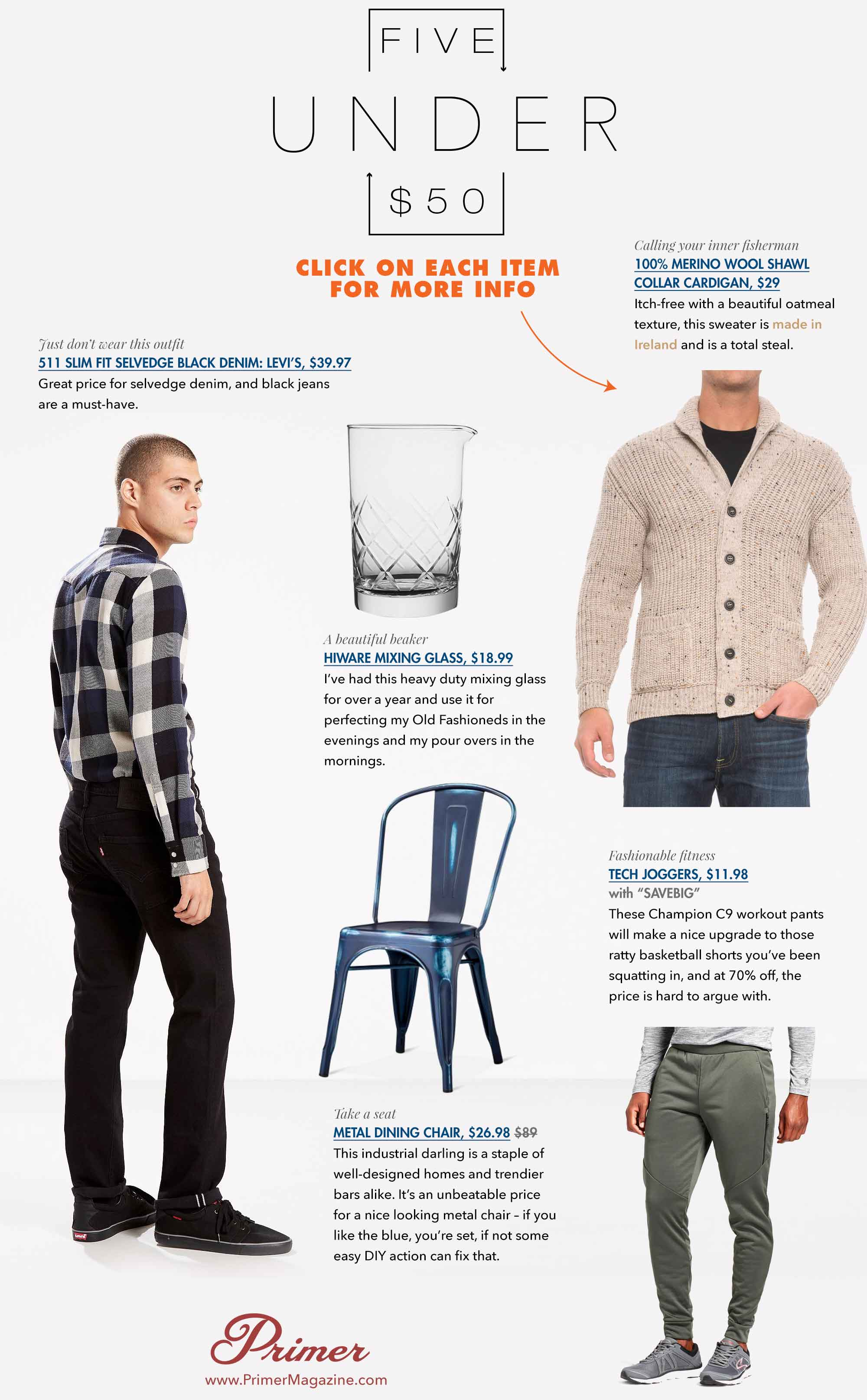 5 Under 50 graphic including cocktail class, chair, sweater, workout pants and jeans