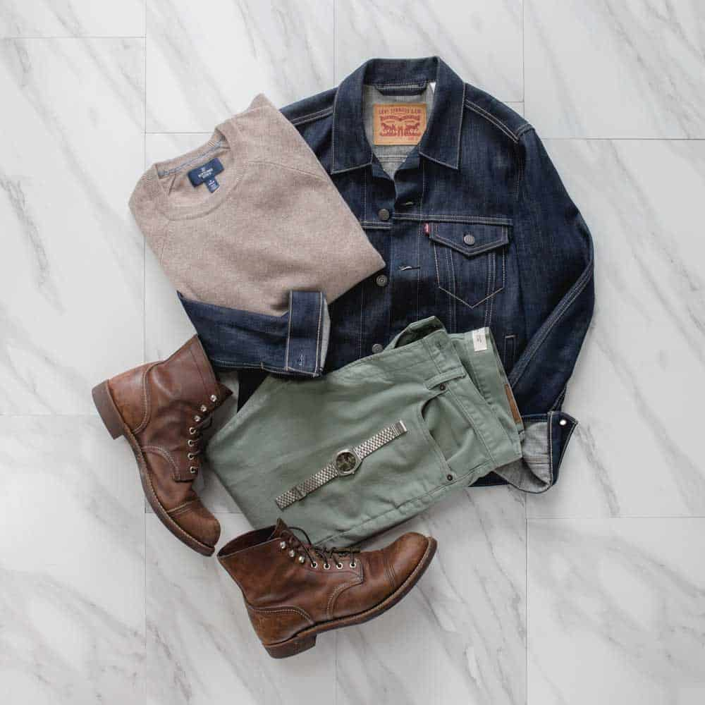 what is cashmere - men outfit inspiration denim jacket red wing iron ranger boots cashmere sweater olive chinos