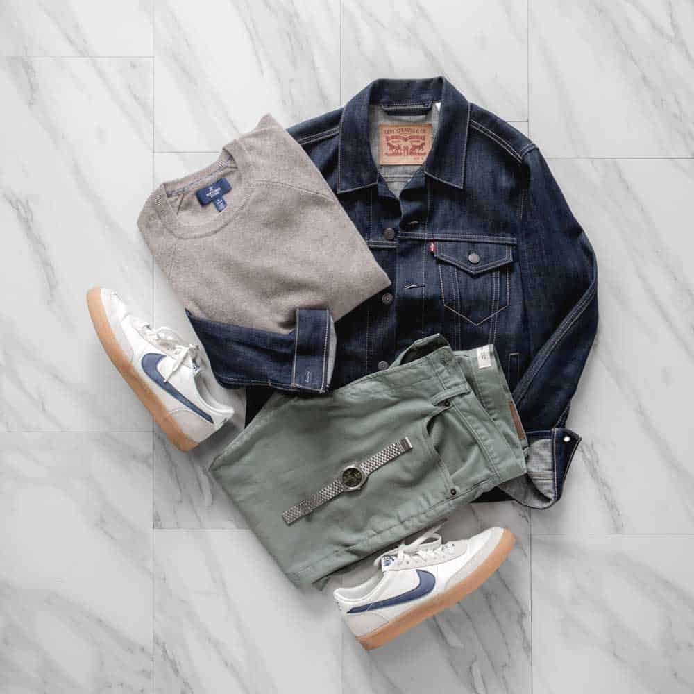 men outfit nike killshots denim jacket cashmere sweater
