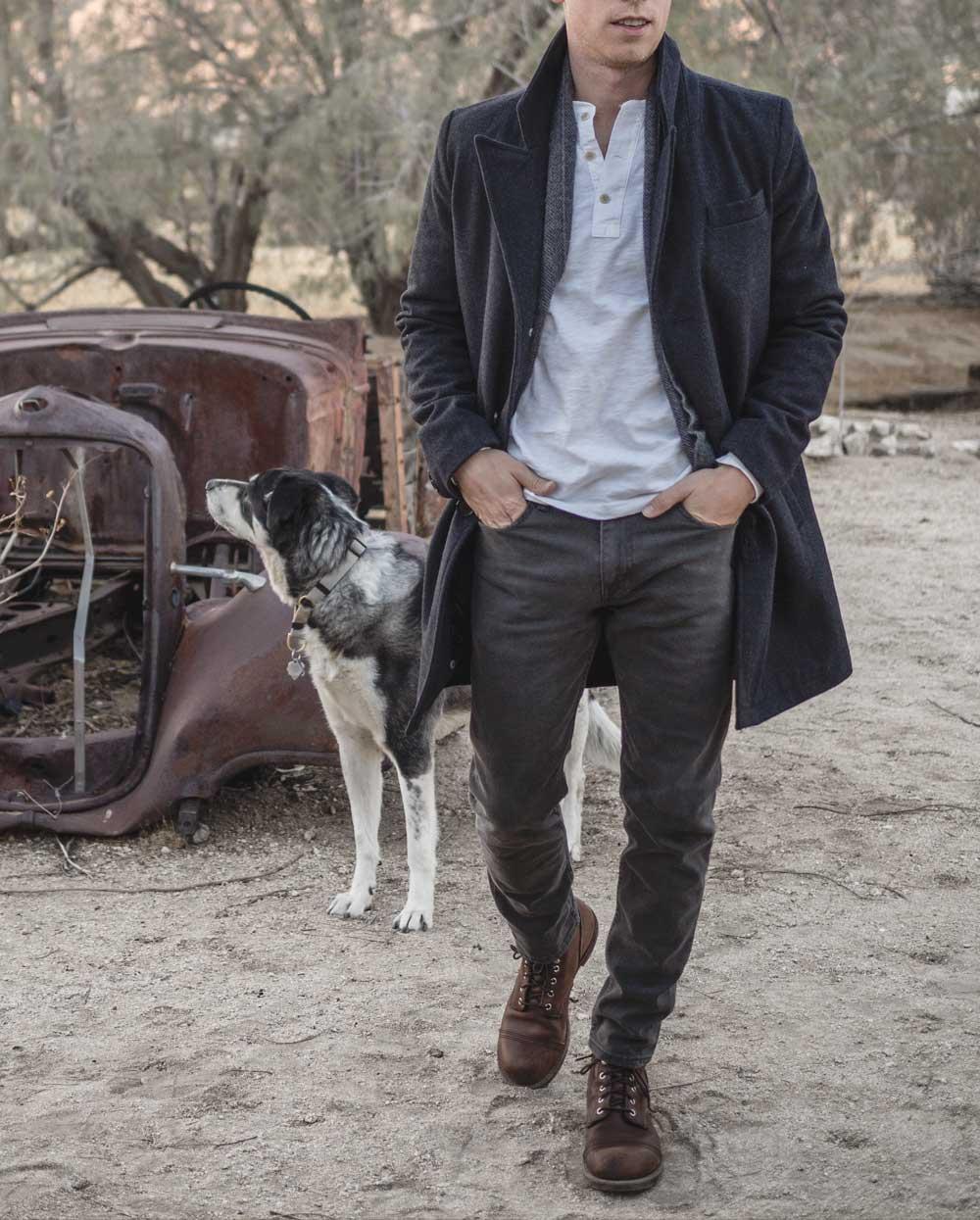 man and his dog at Joshua Tree