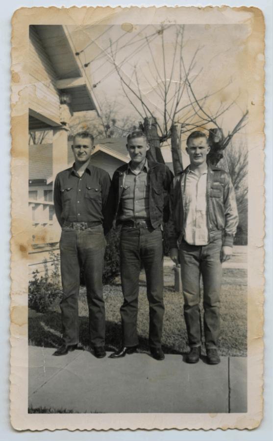 Vintage photograph of working men in denim