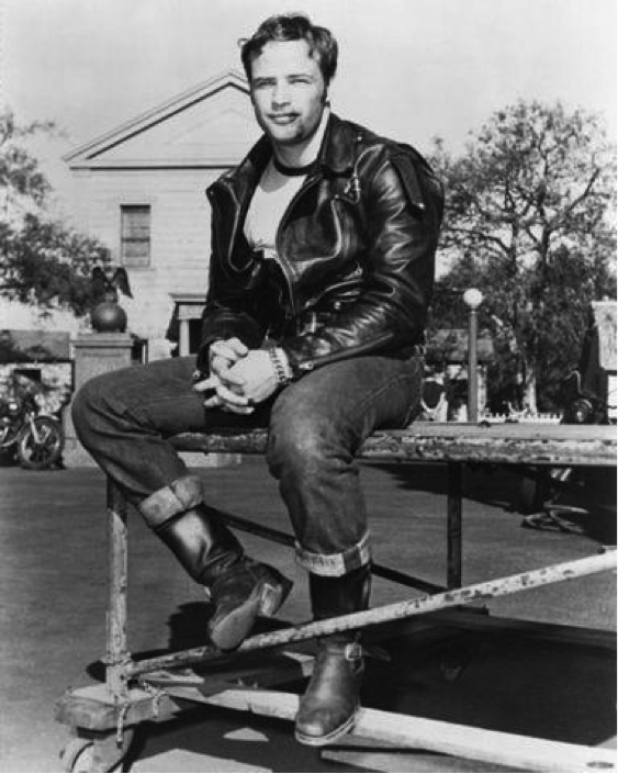Vintage image of Marlon Brando in cone mills denim