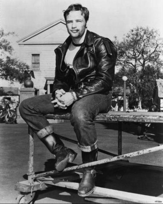 Vintage image of Marlon Brando in cone mills denim