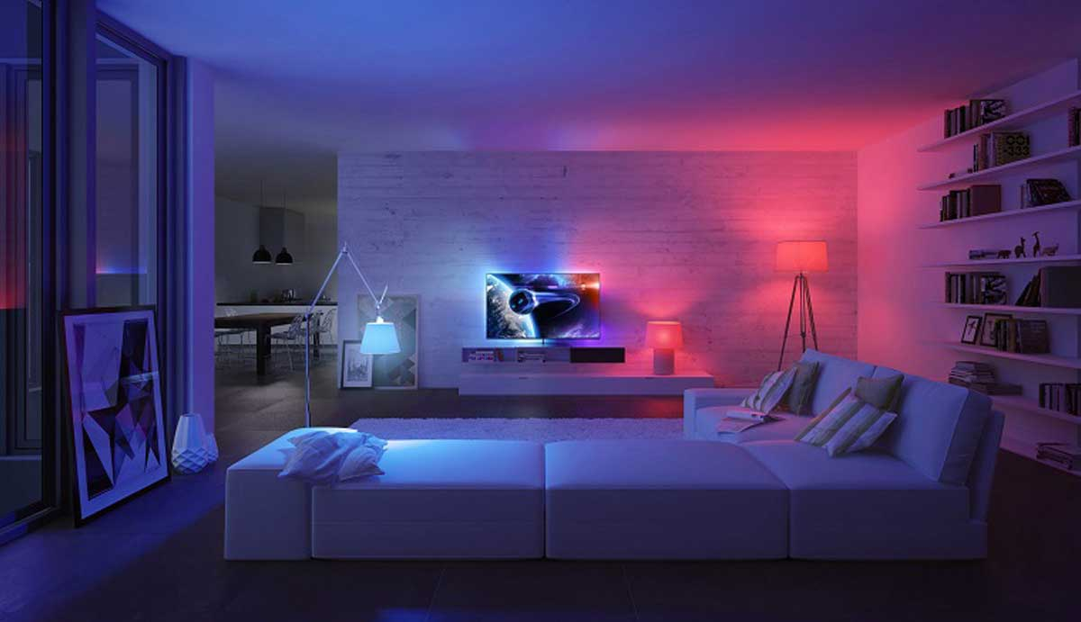 philips hue blue and red lights in living room