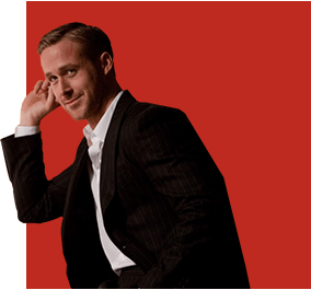 Ryan Gosling wearing a suit and tie