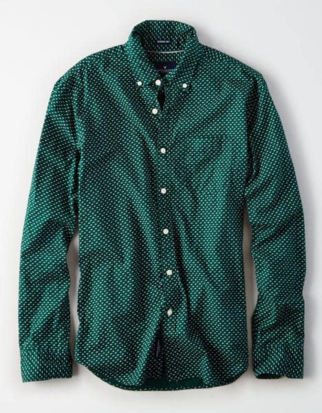Green pattern button up shirt