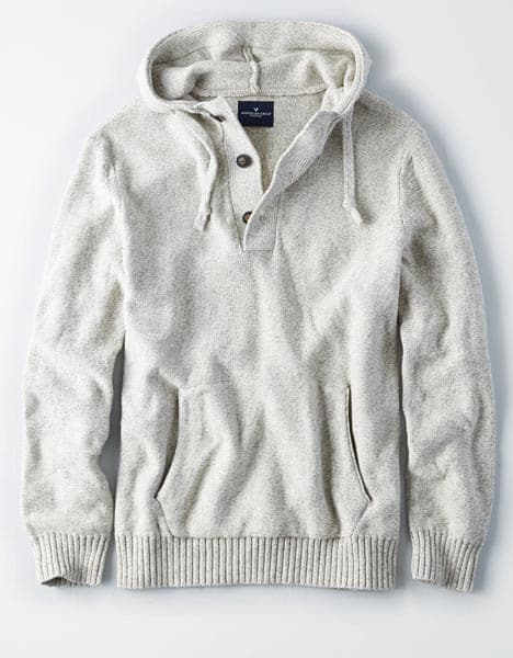 Gray button up hoodie sweater