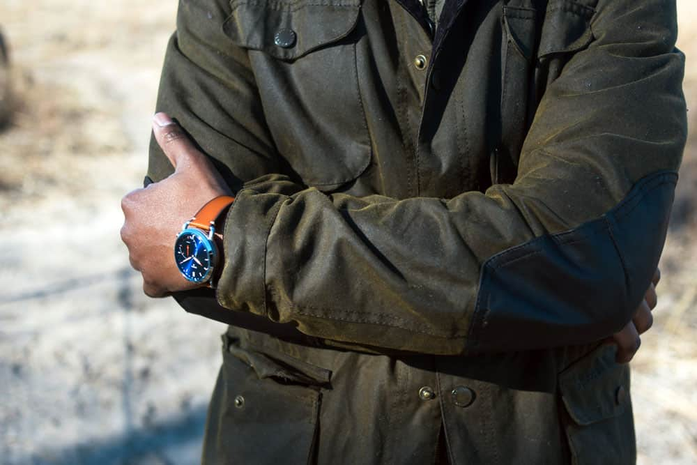 barbour jacket with fossil q watch men