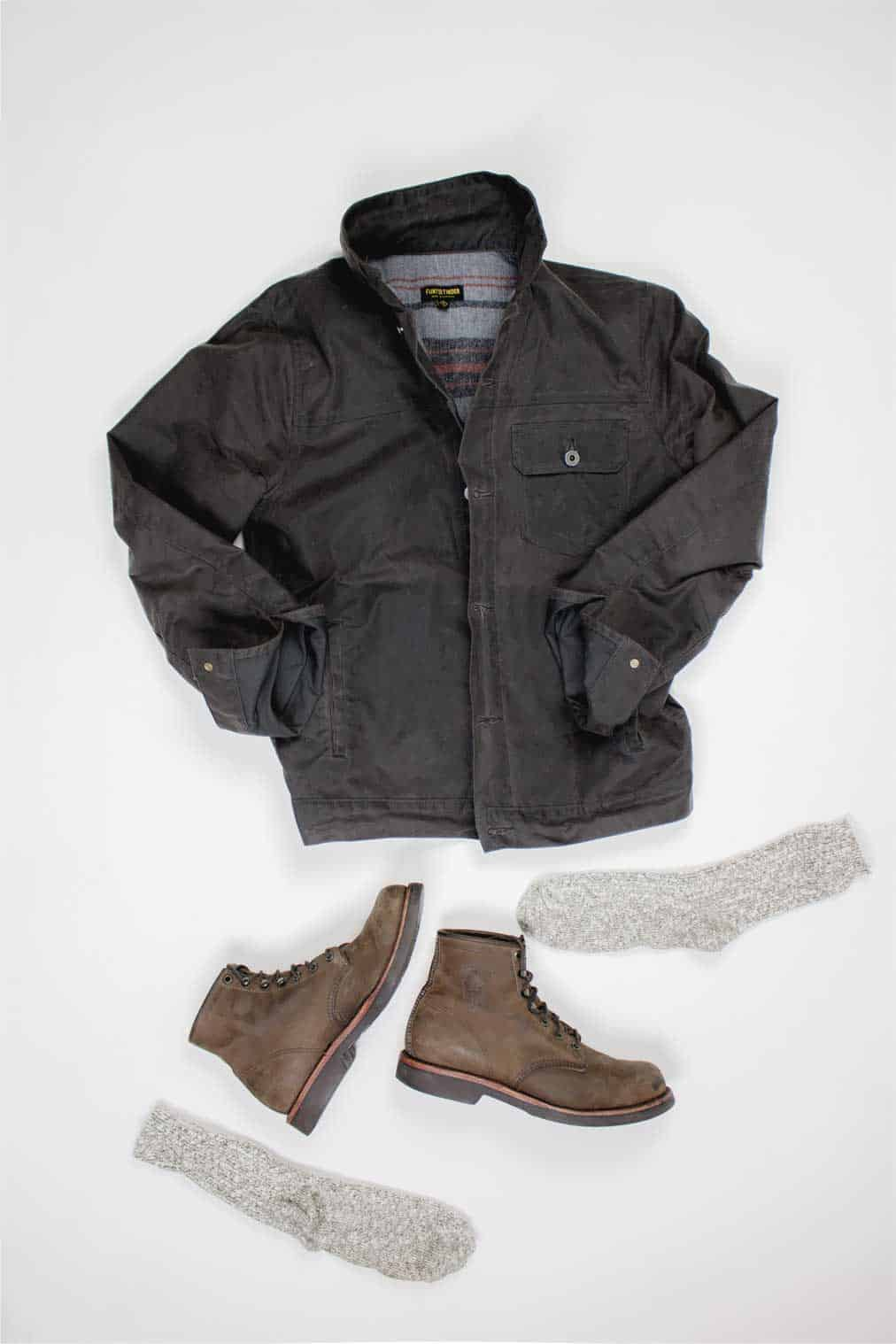 huckberry waxed trucker jacket brown chippewa boots wigwam camp socks