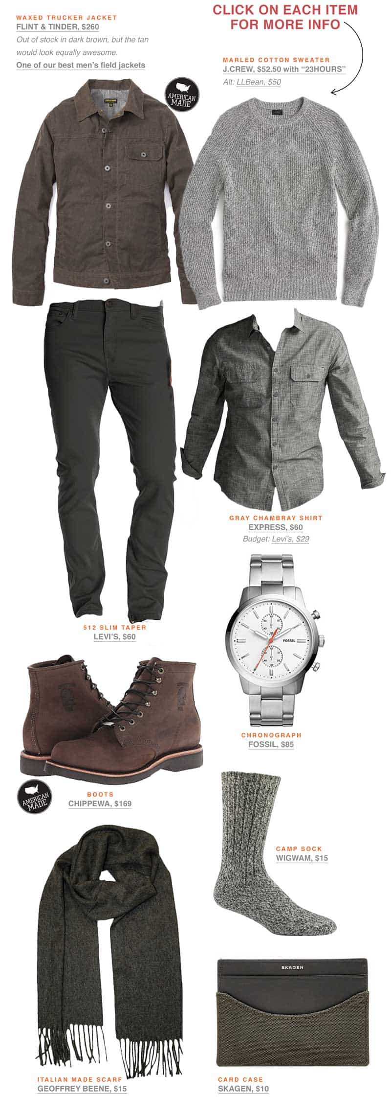 Men\'s spring outfit inspiration with gray jeans and brown boots