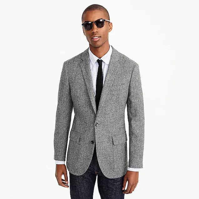 Gray sportcoat and tie with sunglasses