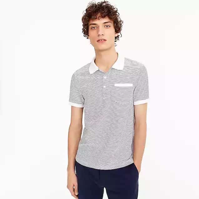 Gray polo with white collar