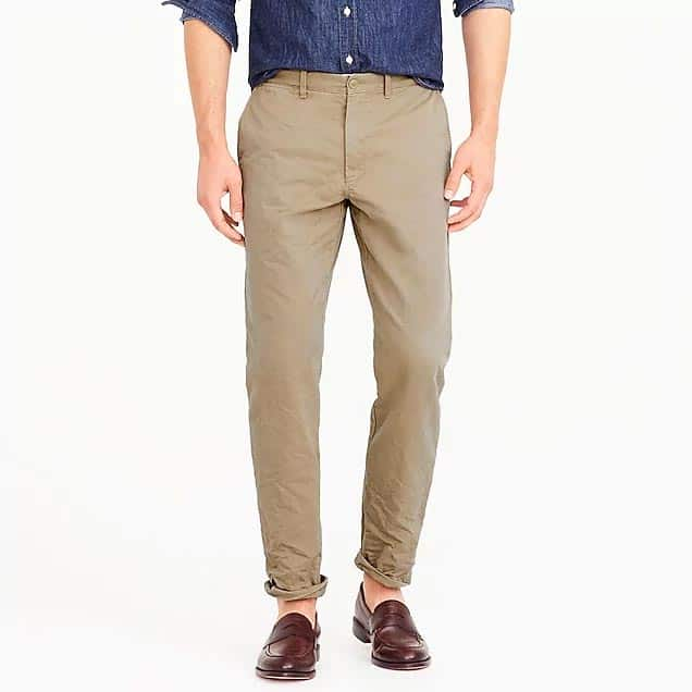 Tan pants with loafers