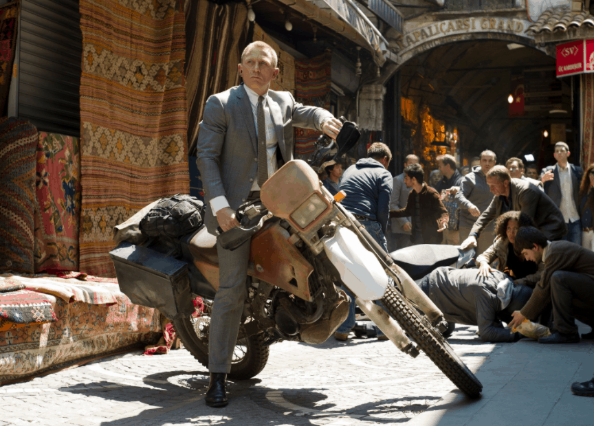 Image of Daniel Craig on a motorcycle