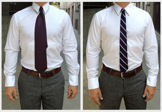 Image of men's neckties - wide tie vs skinny tie