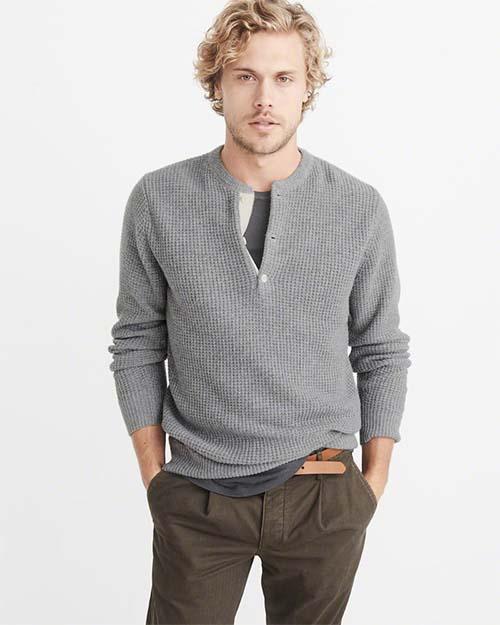 Gray knit hoodie