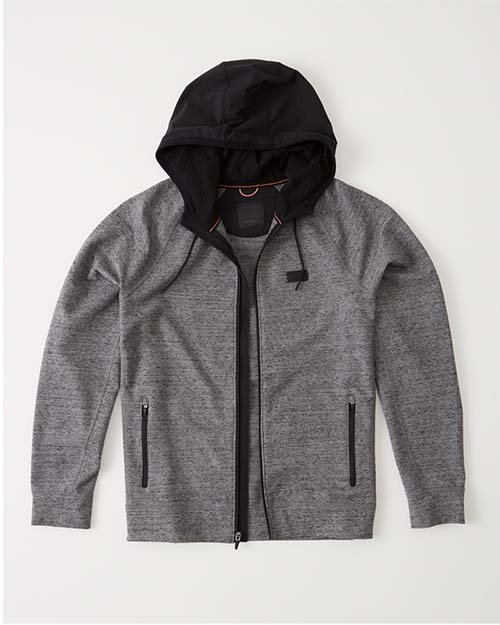 A gray workout zip up hoodie