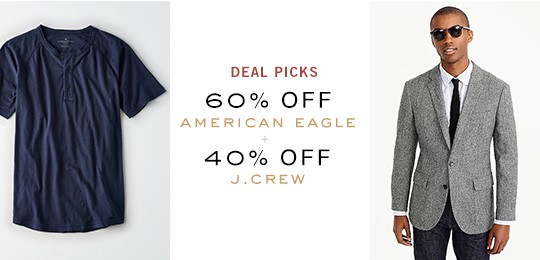 Deal Picks: 60% Off American Eagle, 40% Off J.Crew + Others