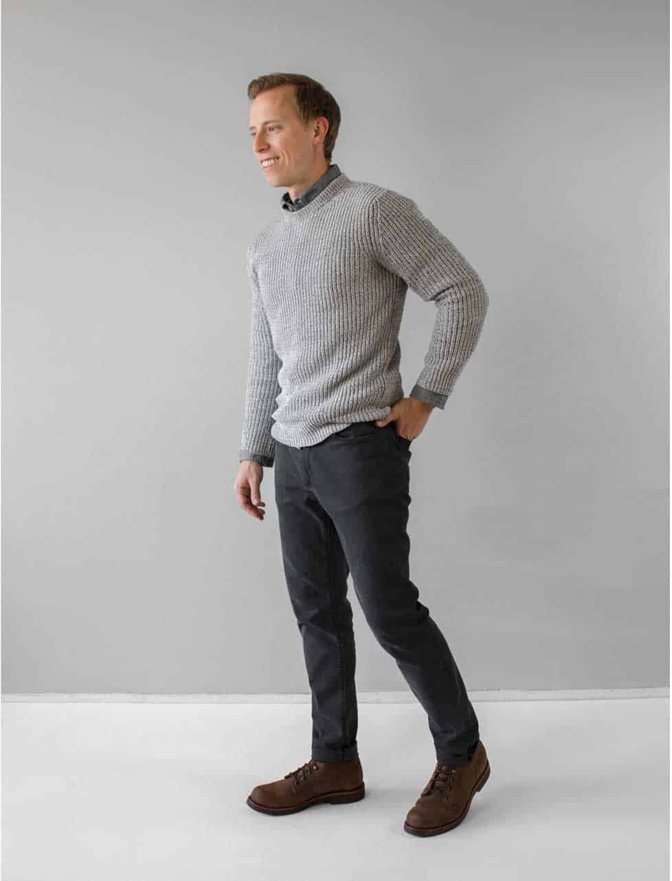 men outfit ideas gray sweater charcoal gray jeans brown chippewa boots