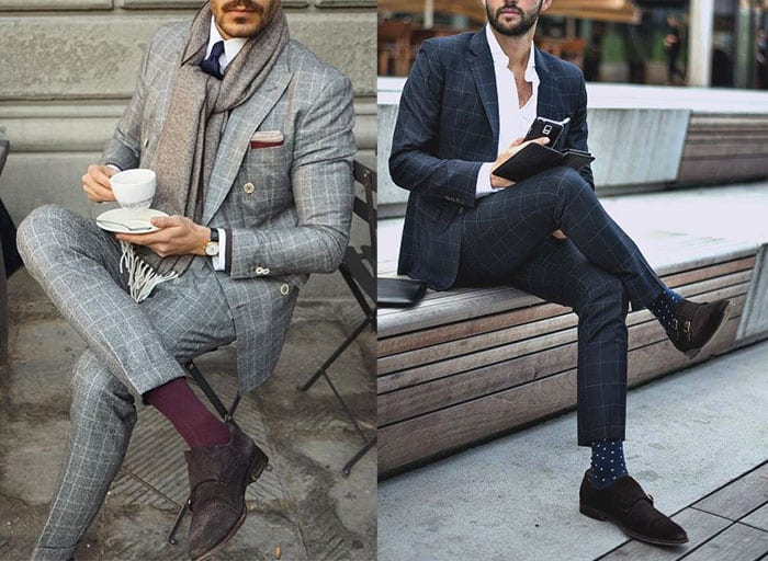 men dress socks colorful with suit