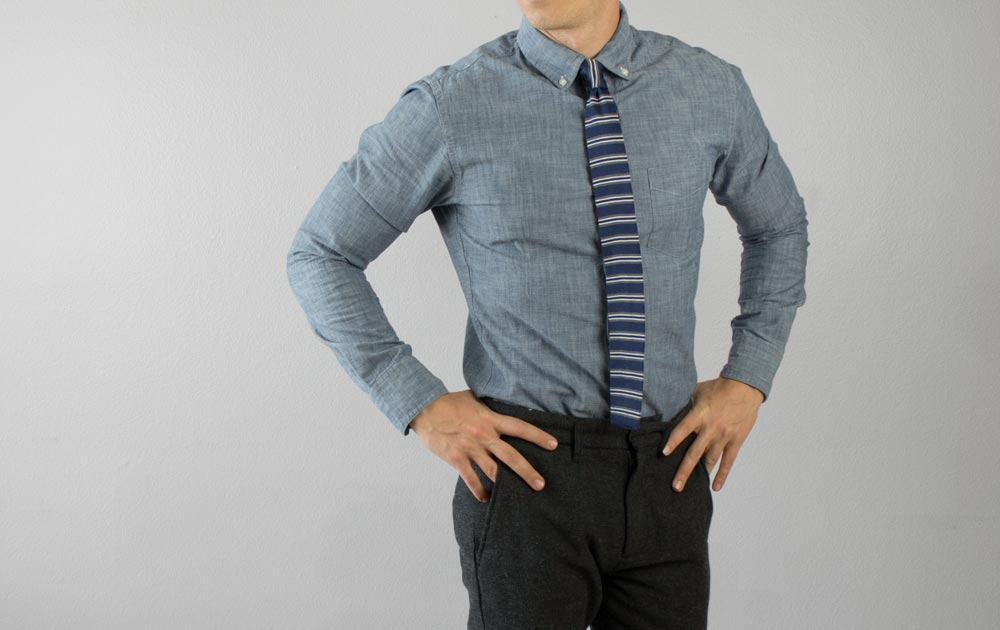 chambray shirt knit tie