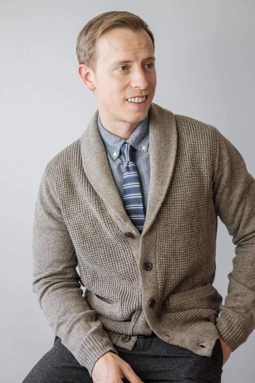 men outfit inspiration shawl collar cardigan knit tie