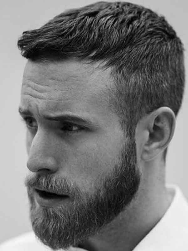 caesar haircut with beard