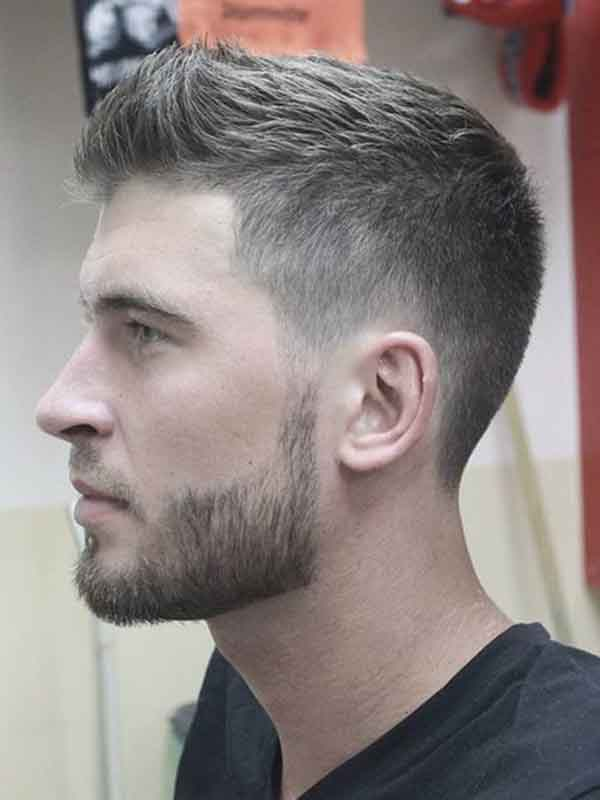 man short hair side view