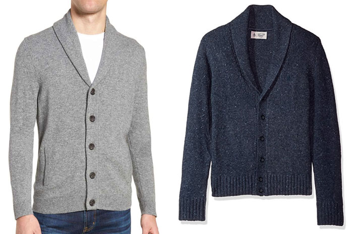 Shawl collar sweater examples, gray and blue