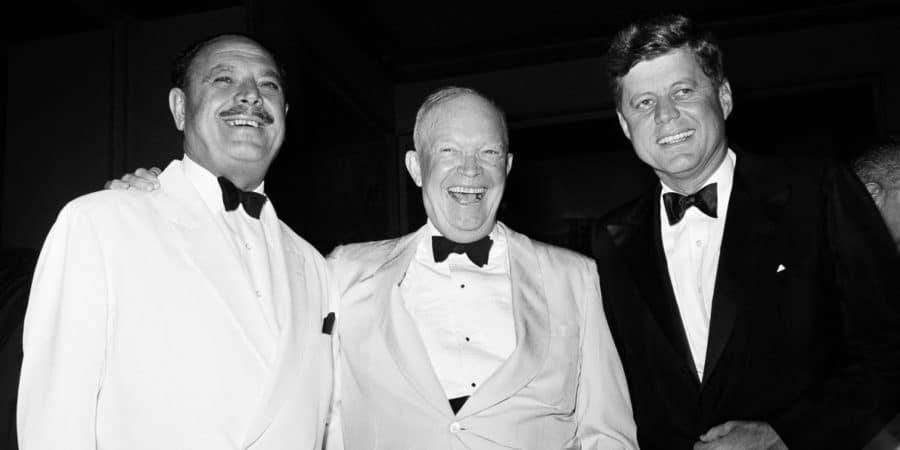 Picture of JFK and Don Rickles wearing tuxedos