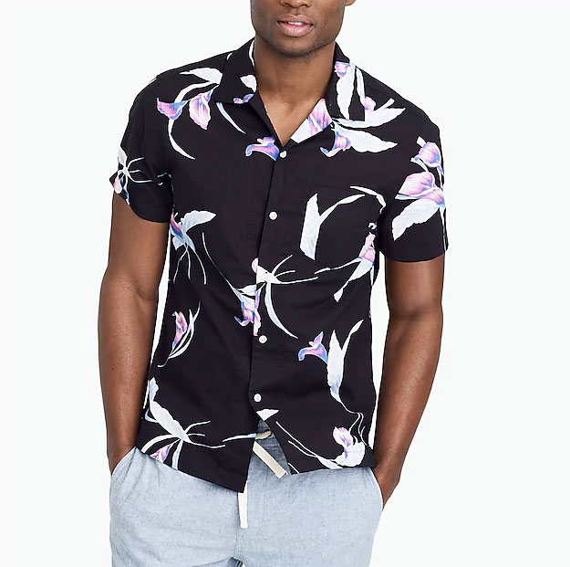 Image of mens printed camp collar shirt