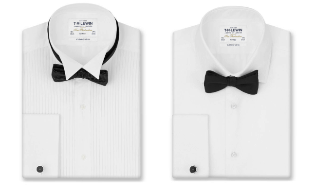 Image of tuxedo shirts and collar examples
