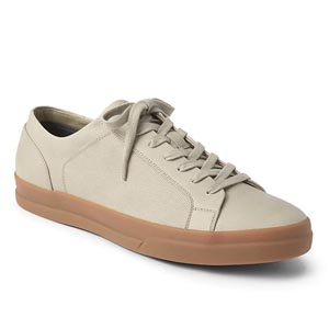Tan sneakers with gum sole