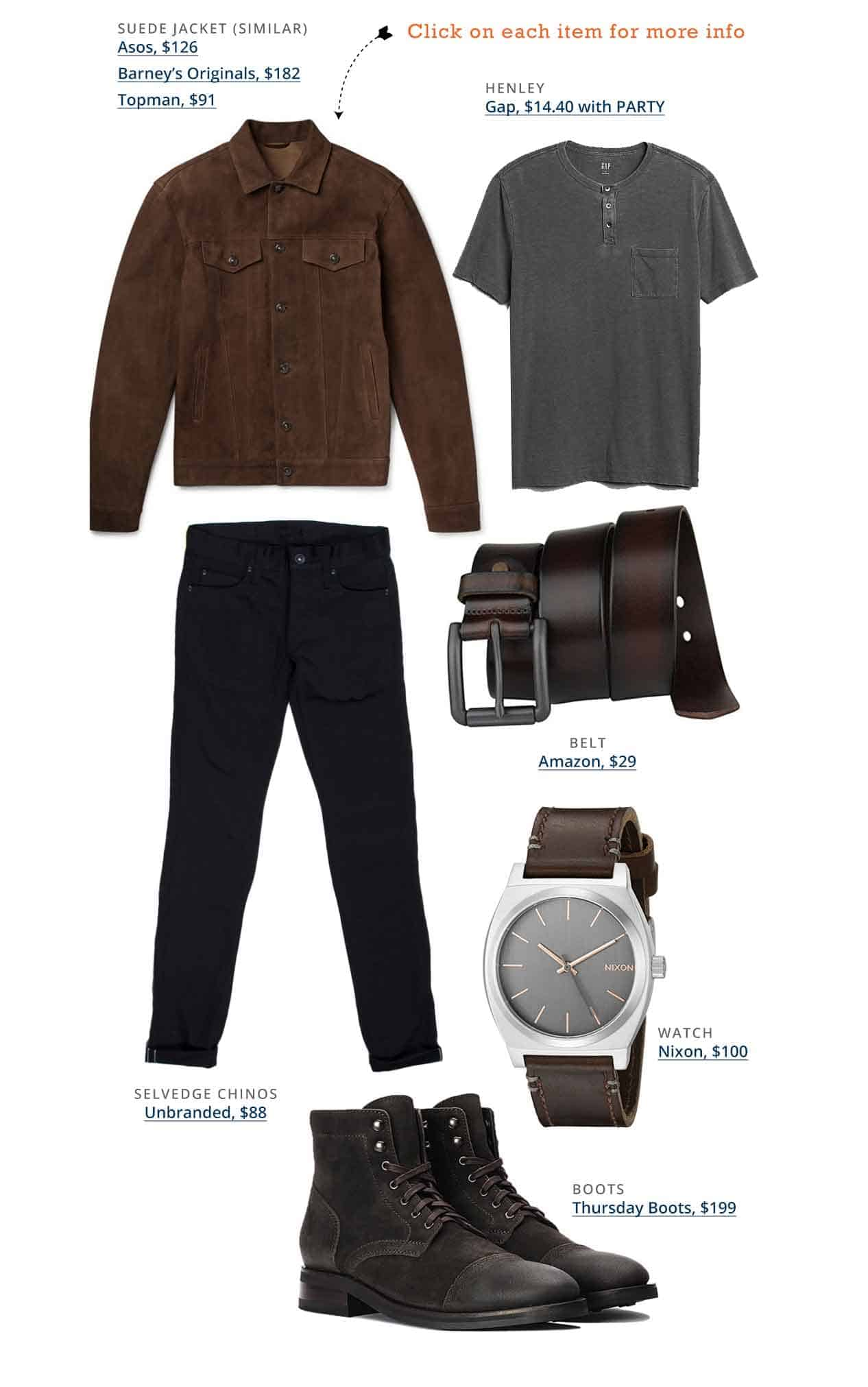 Han solo outfit inspiration brown jacket, gray henley, black jeans