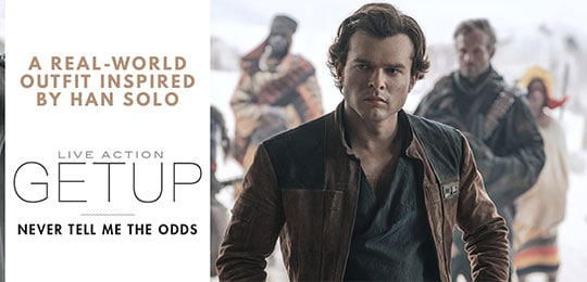 Han Solo outfit with brown jacket and black shirt