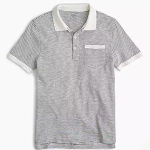 Gray and white polo shirt