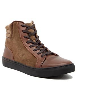Brown and black sneakers